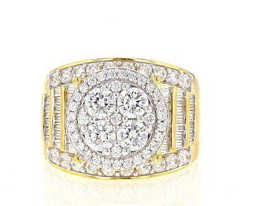 white cubic zirconia 18k yellow gold over sterling silver ring 4.80ctw