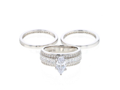 White Cubic Zirconia Rhodium Over Sterling Silver Center Design Ring Set Of 3