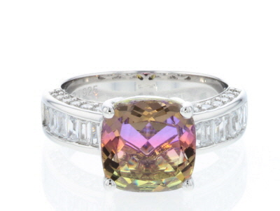 Bi-color & White Cubic Zirconia Rhodium Over Sterling Silver Center Design Ring