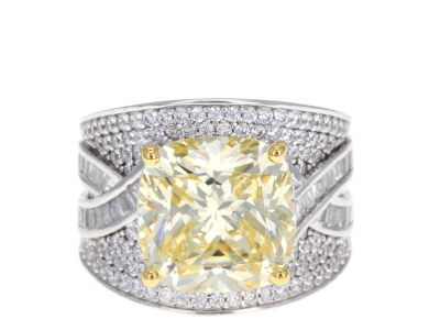 Yellow & White Cubic Zirconia Rhodium Over Sterling Silver Center Design Ring 5.27ctw