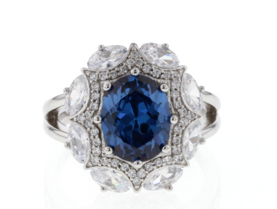 Lab Created Sapphire & White Cubic Zirconia Rhodium Over Sterling Silver Center Design Ring 7.29ctw