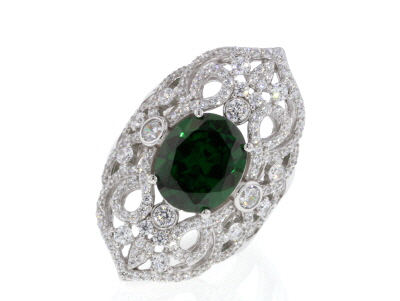 Green & White Cubic Zirconia Rhodium Over Sterling Silver Ring 10.67ctw