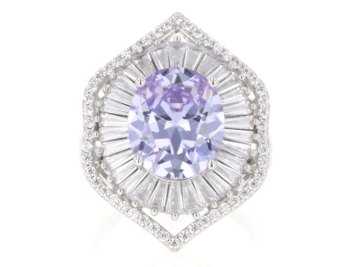 Purple And White Cubic Zirconia Rhodium Over Sterling Silver Ring 11.31CTW