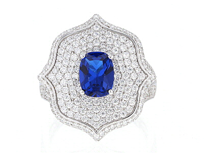 Lab Blue Spinel & White Cubic Zirconia Rhodium Over Sterling Silver Ring 3.56ctw