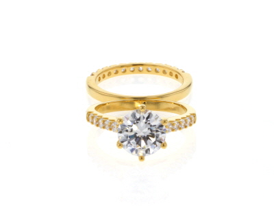 White Cubic Zirconia 18K Yellow Gold Over Sterling Silver Ring With Band 5.45ctw