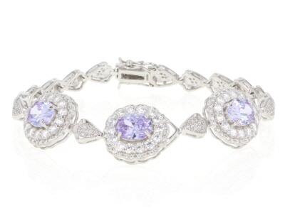 Purple And White Cubic Zirconia Rhodium Over Sterling Silver Bracelet 18.81CTW