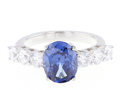 Blue And White Cubic Zirconia Rhodium Over Sterling Silver Ring 6.53CTW