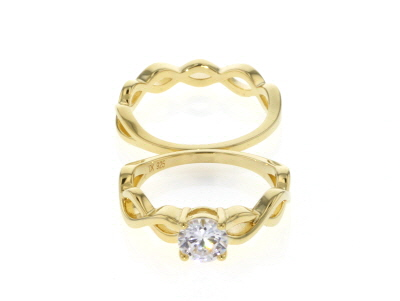 White Cubic Zirconia 18K Yellow Gold Over Sterling Silver Ring With Band 1.35CT
