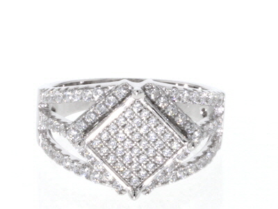White Cubic Zirconia Rhodium Over Sterling Silver Ring 1.34CTW