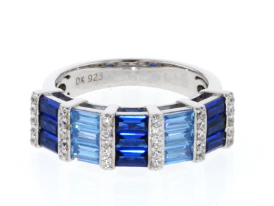 Lab Blue Spinel & Blue And White Cubic Zirconia Rhodium Over Sterling Silver Ring 2.51CTW