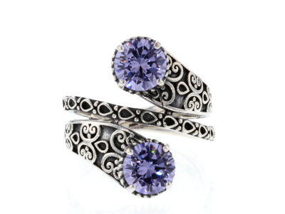 Purple Cubic Zirconia Rhodium Over Sterling Silver Ring 4.12CTW