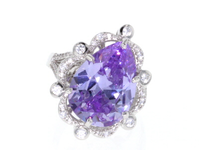 Purple And White Cubic Zirconia Rhodium Over Sterling Silver Ring 19.96CTW