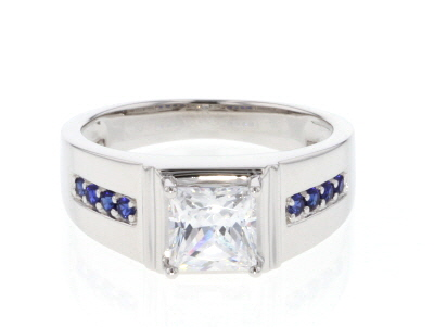 Lab Created Sapphire And White Cubic Zirconia Rhodium Over Sterling Silver Gents Ring