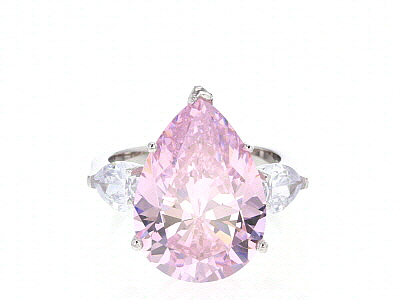 Pink and White Cubic Zirconia Rhodium Over Silver Ring 23.21ctw