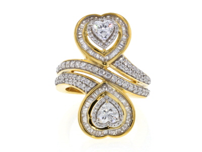 White Cubic Zirconia 18K Yellow Gold Over Sterling Silver Heart Ring 3.81ctw