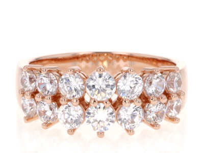 White Cubic Zirconia 18K Rose Gold Over Sterling Silver Band Ring 2.70ctw
