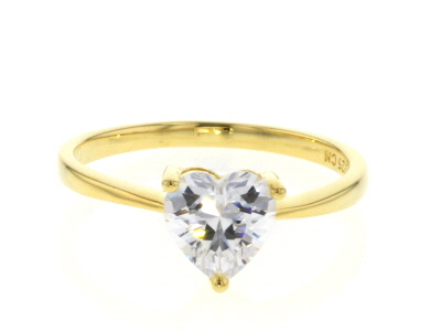White Cubic Zirconia 18K Yellow Gold Over Sterling Silver Heart Ring And Earrings 4.20ctw
