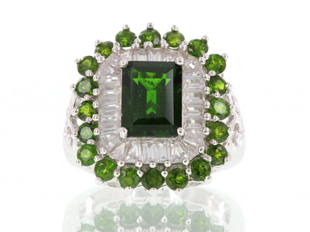Womens Cocktail Ring Green Chrome Diopside White Zircon 5ctw Silver