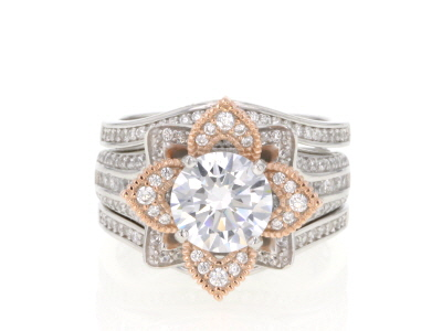White Cubic Zirconia Rhodium and 14k Rose Gold Over Sterling Silver Ring with Guard 5.49ctw