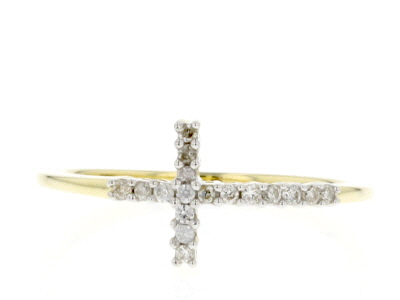 White Diamond 10k Yellow Gold Cross Ring .12ctw