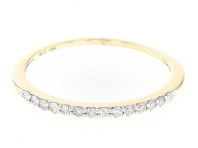 White Diamond 10k Yellow Gold Band Ring 0.15ctw