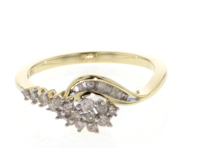 White Diamond 10k Yellow Gold Ring 0.28ctw