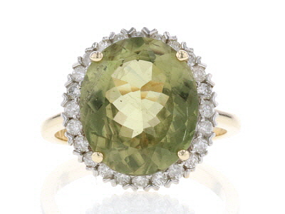 Green Color Shift Turkish Diaspore 14k Yellow Gold Ring 6.94ctw