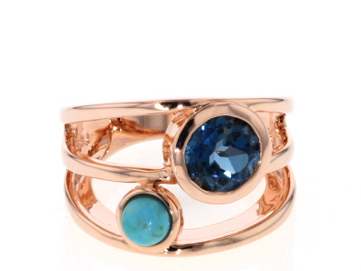 London Blue Topaz Copper Ring 1.86ct