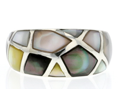 Multicolor Mother Of Pearl Rhodium Over Sterling Silver Ring