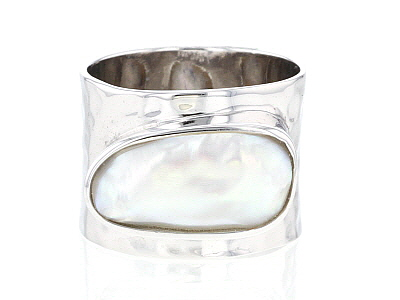 Cultured Freshwater Pearl, Rhodium Over Sterling Silver Ring