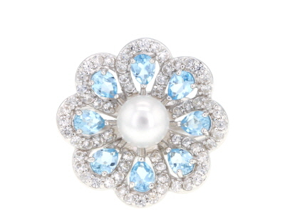 6mm White Cultured Freshwater Pearl, Swiss Blue Topaz & White Zircon Rhodium Over Silver Ring