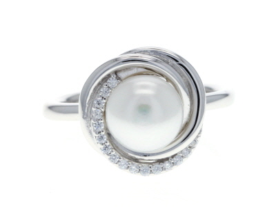 8-9mm Cultured Freshwater Pearl & Bella Luce(R) Diamond Simulant Rhodium Over Silver Ring