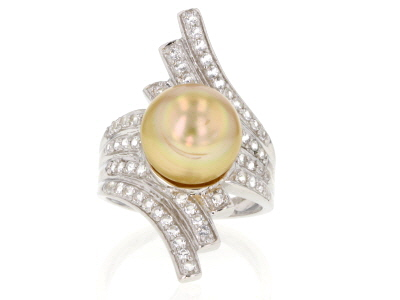 11mm Cultured Golden South Sea With 0.83ctw White Topaz Rhodium Over Sterling Silver Ring