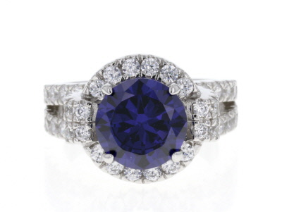 Blue & White Cubic Zirconia Rhodium Over Sterling Silver Ring 8.90ctw