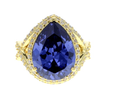 Blue and White Cubic Zirconia 18k Yellow Gold Over Sterling Silver Ring 17.82ctw