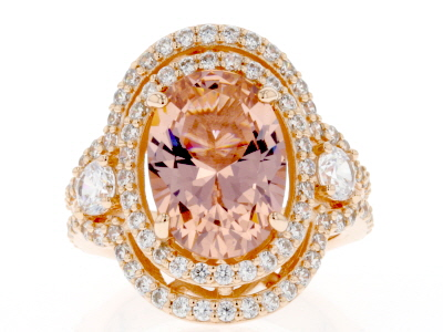 Peach & White Cubic Zirconia 18k Rose Gold Over Sterling Silver Ring 8.25ctw