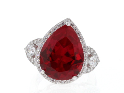 Lab Created Ruby & White Cubic Zirconia Rhodium Over Sterling Silver Center Design Ring