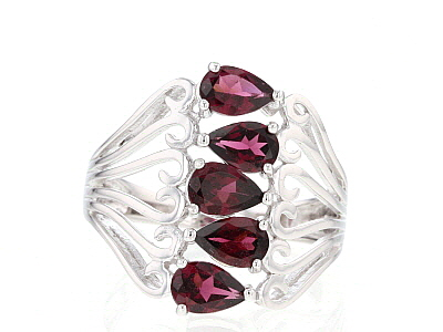 Raspberry Color Rhodolite Rhodium Over Sterling Silver Ring. 2.38ctw