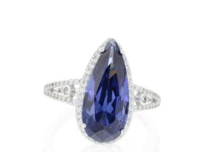 Blue and White Cubic Zirconia Rhodium Over Sterling Silver Ring 8.64ctw