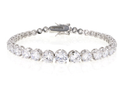 White Cubic Zirconia Rhodium Over Sterling Silver Tennis Bracelet 19.70ctw