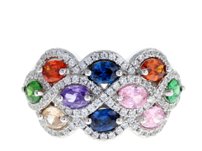 Multicolor & White Cubic Zirconia Rhodium Over Sterling Silver Cluster Ring 3.44ctw