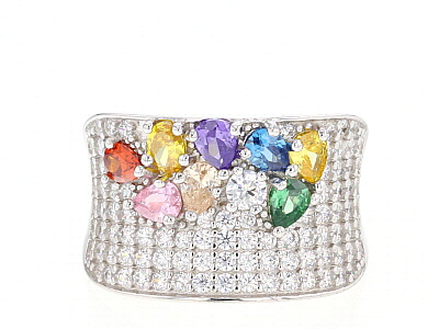 Multicolor & White Cubic Zirconia Rhodium Over Sterling Silver Cluster Ring 4.61ctw