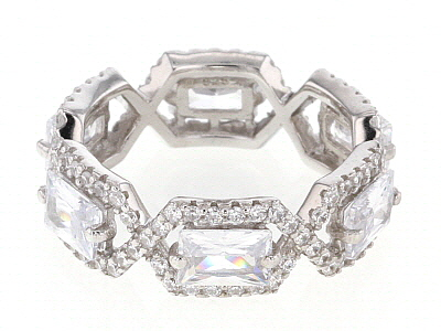 White Cubic Zirconia Rhodium Over Sterling Silver Band Ring 7.74ctw