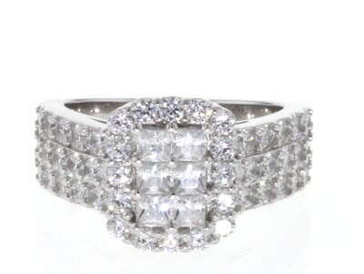 White Cubic Zirconia Rhodium Over Sterling Silver Cluster Ring 2.72ctw