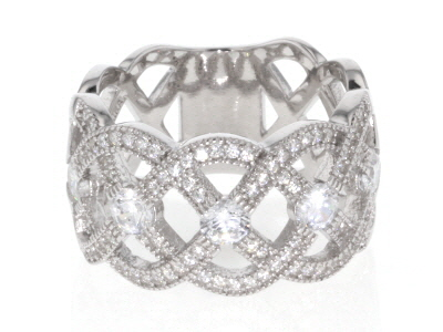 White Cubic Zirconia Rhodium Over Sterling Silver Band Ring 2.17ctw