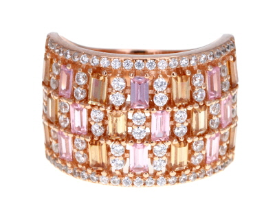 White Brown and Pink Cubic Zirconia 18k Rose Gold Over Sterling Silver Ring 4.80ctw