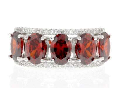Red and White Cubic Zirconia Rhodium Over Sterling Silver Ring 4.58ctw