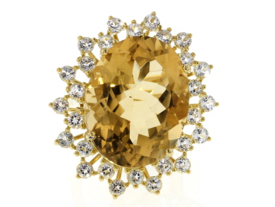 Yellow Brazilian Citrine 18k Yellow Gold Over Silver 28.50ctw