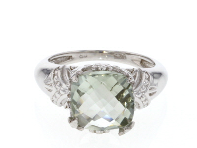Green Praisolite Ring Rhodium Over Silver Ring 3.80ct