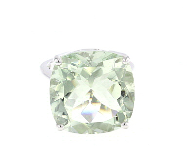 Green Prasiolite Rhodium Over Sterling Silver Solitaire Ring 17.00ct